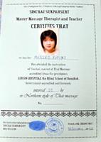 Sinchai Sukparsert Massage certificate
