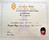 Uangdoi Design Dressmaking School certificate