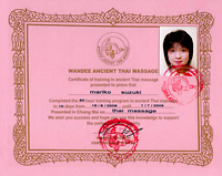 Wandee Ancient Thai massage certificate