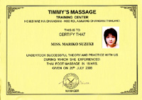 Timmy's Thai massage certificate
