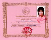Wandee Ancient Thai massage certificate